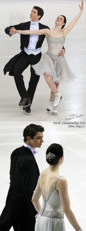 Tessa Virtue and Scott Moir's beautiful Golden Waltz costumes at the 2010 World Championships.