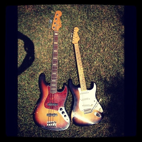 #fender #jazzbass #bass #1968 #original & #stratocaster #sunburst #guitar  (Taken with Instagram)