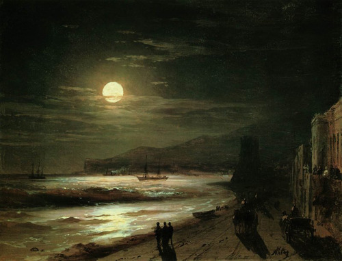 zolotoivek:  Ivan Aivazovsky - Moonlit Night, 1885