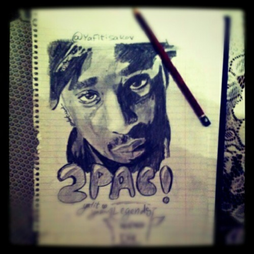 I drew tupac a long time ago #tupac #drawing #hiphop #legend #art #westside #2pac  (Taken with Instagram)
