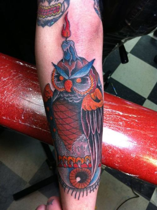 My hooty hoot and all seeing eye. Done by Adam Patterson of Jersey City Tattoo.