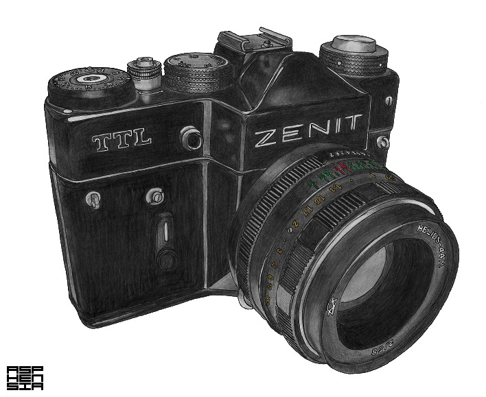 Zenit TTL Found my old Zenit TTL the other day and felt like drawing it. Whilst impressive, digital camera's can't beat that feeling of using an old analog SLR. Ofcourse using film is more costly but it's totally worth it.