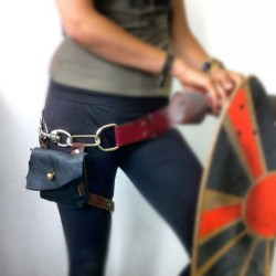 Kristelle is heading of for a long adventure but she needed a holster. Today we made one! The holder can strap on the leg or it can attach directly on the belt. (Taken with Instagram)