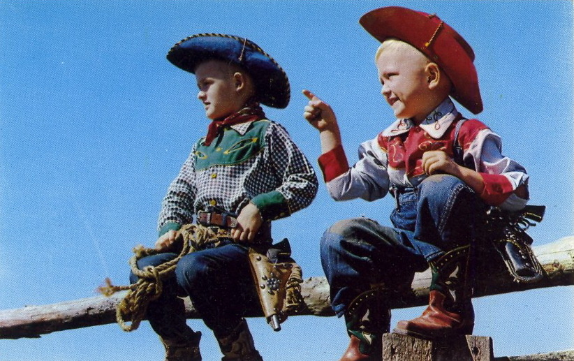 "CAPTION CONTEST — Cowboyboys 8/15/12  10:18 AM: Thanks for your captions, everyone! The winner is Mommakacky for the caption: ""Hey dude, this is some ranch, huh"" Congratulations, Mommakacky! To claim your postcard prize, email me at bad.postcards@gmail.com with your choice of postcard from the list below and your mailing address. The RULES1) MAXIMUM of TWENTY (20) WORDS2) One entry per person3) Please enter your caption in the comments of this post4) Submissions will be accepted until Sunday, August 12, 2012 at 8:00 PM EDT The author of my favorite caption will have their choice of one of these original vintage postcards (all previously published on BAD POSTCARDS): 1) NIPPLE INSPECTION2) PINEAPPLE INSPECTION3) TIMMY THE TIGER, Cypress Gardens, Florida4) A'TOP BIG POCONO5) MISS SUGARDALE—1958  HAVE FUN and GOOD LUCK!"