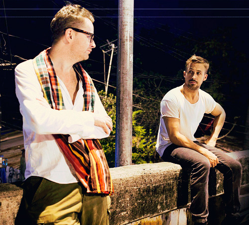 Ryan Gosling and Nicolas Winding Refn on the set of 'Only God Forgives'