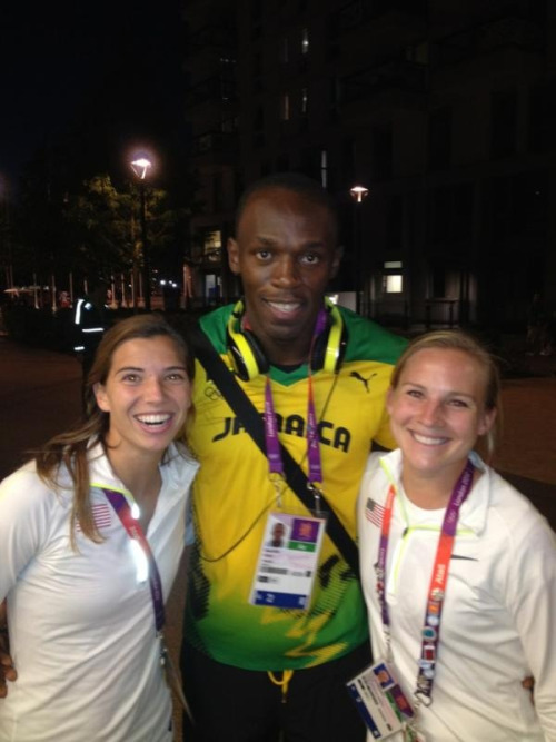 socnation:  USWNT's Tobin Heath and Amy Rodriguez with The Fastest Man on the Planet - Jamaica's Usain Bolt.