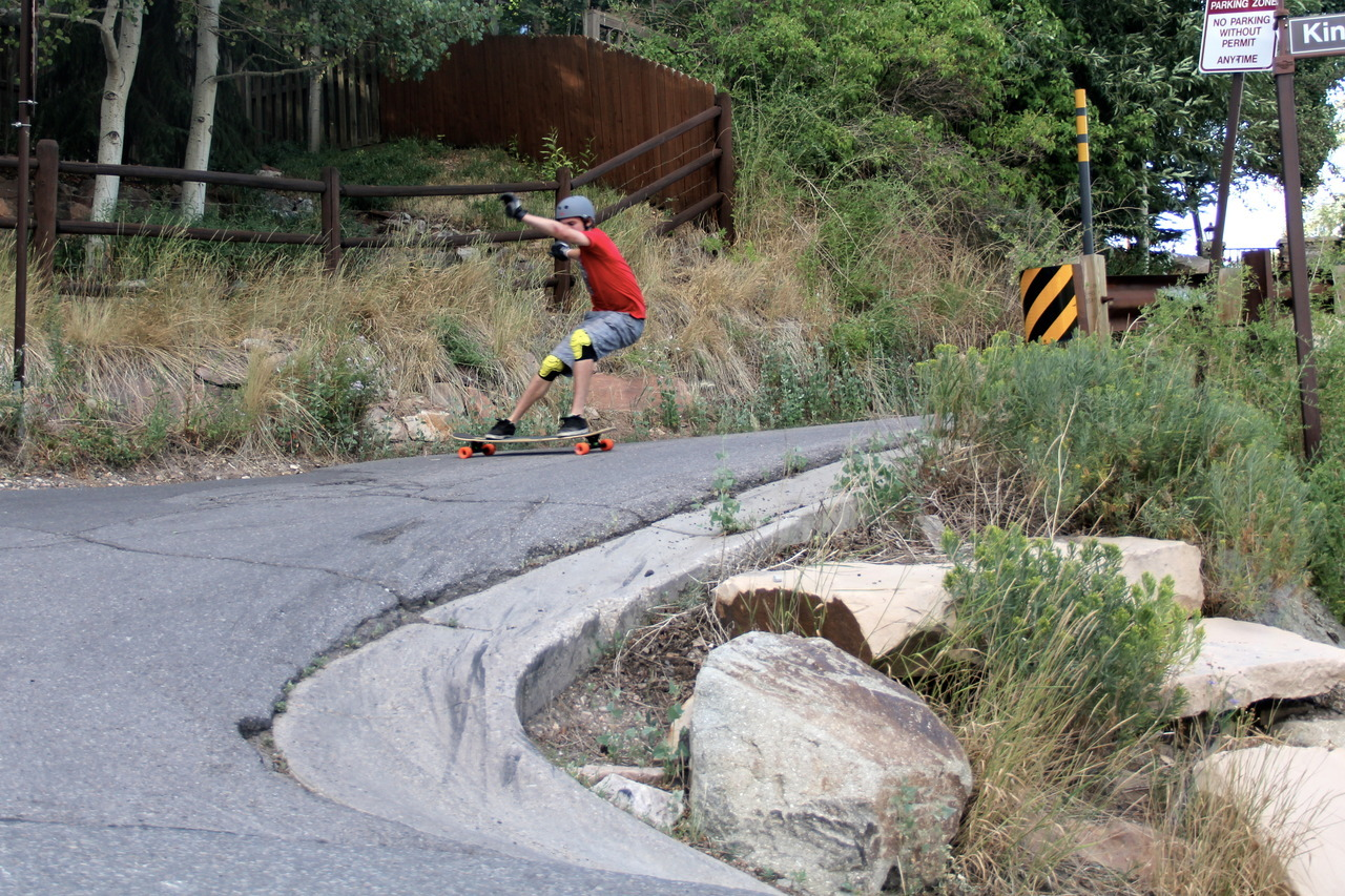 One of the more terrifying hairpins I've skated. Rider: me. Photo: Shelters. -MG