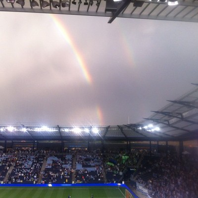 Odd little void in the double rainbow at the #sportingkc #usoc game.  (Taken with Instagram)