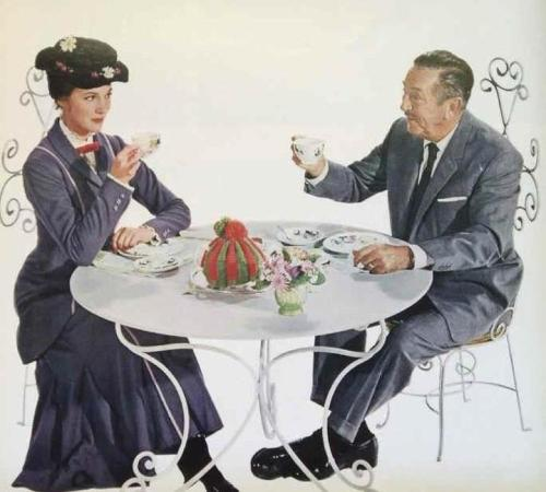 andrew-jason:  Walt Disney having tea with Mary Poppins…Find me something better on Tumblr, I challenge you :p