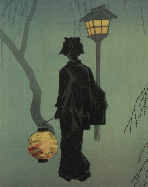 artemisdreaming:  Spring Evening Takahashi Shotei  (Japanese, 1870 - 1945) Woodblock print; ink and color on paper H: 40.0 W: 19.0 cm, Japan Smithsonian Institution