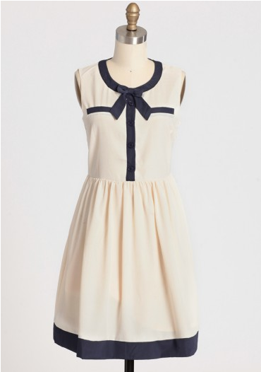 chiconthecheap:  Picture Perfect Bow Dress in Ivory - $44.99, Ruche I know I should be looking ahead to fall must-haves, but how can you resist a perfect nautical dress?  love this - super cute