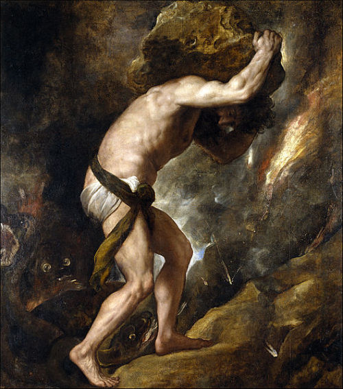 blastedheath:  belletristcoterie Titian, Sisyphus, 1548-49. Oil on canvas. Museo del Prado, Madrid.