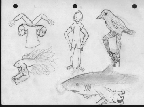 without-mendacity:  drawing i did one day during lunch- muscular beta fish, shark with bear fins (and then shark arms on the bear) and a prostitute bird   These are my favorite kind of people.