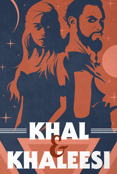 ianbrooks:  Khal and Khaleesi by Ben Huber Prints available at Society6 and through August 12th, you can get free shipping on this item by hitting this link. Featuring the premiere superstars, moons, and suns of the Dothrakki and House Targaryen! Artist: Tumblr / Twitter