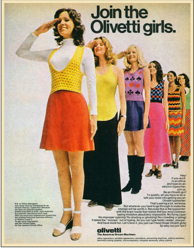 hollyhocksandtulips:  Olivetti girls, 1972