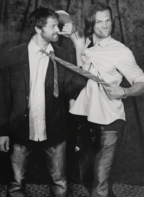 misha-collins:  Jared and Misha from one of my photo ops. I'll post it in color when I can actually get my scanner to work!