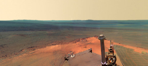 foxchaos:  awidevastdominion:  Mars in winter. Screen grab from the spectacular interactive 360° panorama assembled from images taken by the rover Opportunity between December 2011 and May 2012. The trusty rover (foreground) has been on the red planet since 2004 and is still active.  This is Opportunity, kids. In the future, the best way to tell the difference is usually the fact that, depending on where she's looking, you'll see that Opportunity as solar panels, whereas her sister, Curiosity, as a badass nuclear battery. Pretty sure the Martian sun rise was also from Opportunity, but don't quote me on that.
