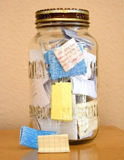 inhhale-exhhale:  Start the year with an empty jar and fill it with notes about good things that happen. On New Years Eve, empty it and see what awesome stuff happened that year. I'm starting this next year. I'm not waiting. I want to start this now!