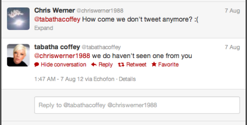 Its not Tabatha's fault you don't tweet with her.