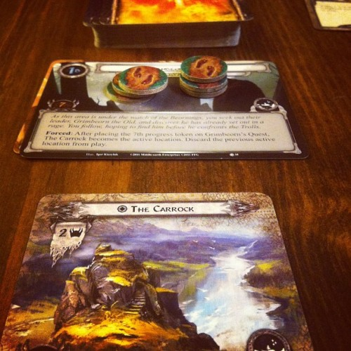 Campaigning on… LotR:LCG Conflict at the Carrock #boardgames #gamenight  (Taken with Instagram)