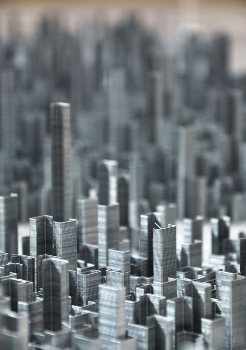 Artist Peter Root created an installation of an entire city using everyday staples.