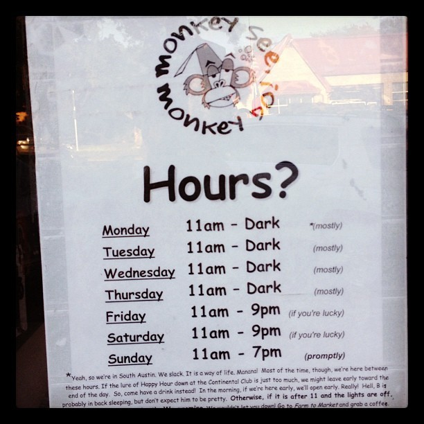 Welcome to South Austin.  (Taken with Instagram at Monkey See Monkey Do)