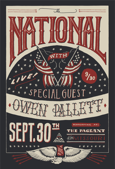 Jon Contino's hand lettered poster for The National tour.