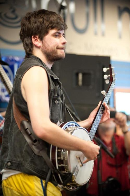 Winston Marshall of Mumford & Sons performs at Bull Moose in Scarborough, Maine on August 3, 2012. Photo © Matthew Robbins.