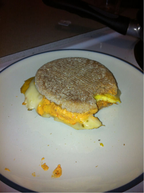 The reason I'm posting this, is because it was such a perfect egg sandwich I had to photograph it… 1 egg, wheat English muffin, pepper jack cheese, and Einstein Sun Dried tomato schmear! Freaking yum!