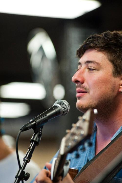 Marcus Mumford of Mumford & Sons performs at Bull Moose in Scarborough, Maine on August 3, 2012. Photo © Matthew Robbins.