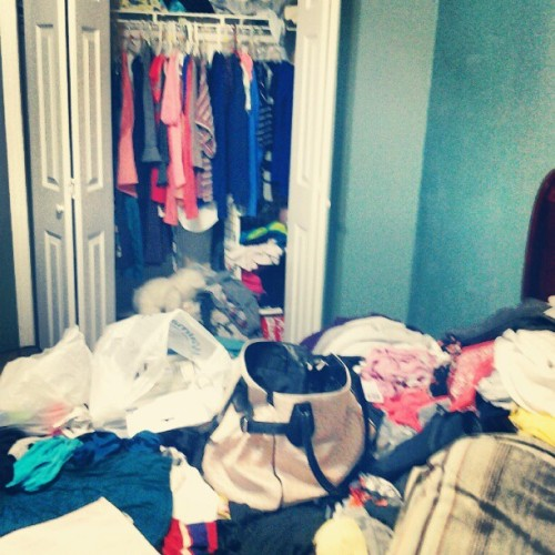 Gotta start packing tomorrow!! Can't have my room looking THIS bad much longer…  (Taken with Instagram)