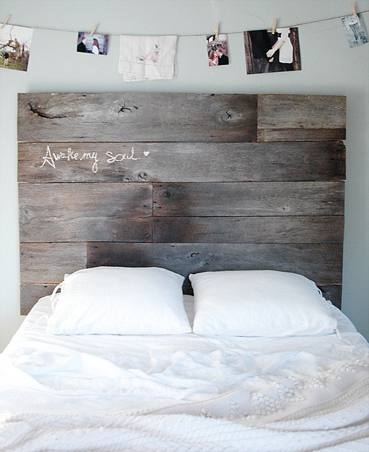 ladyinbluejeans:  DIY: Barnwood Headboard by 508 Restoration & Design on Flickr.