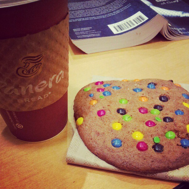 M&M cookie and a Christmas-in-a-Cup latte, courtesy of @mikaellalising<3 #Paneralove (Taken with Instagram)