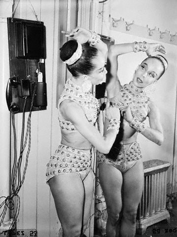 "vintageblackglamour:  Janet Collins, the first Black prima ballerina at The Metropolitan Opera in her dressing room on the night of her debut, November 11, 1951. Ms. Collins, a cousin of Carmen de Lavallade, performed Giuseppe Verdi's ""Aida"" that night. She died in 2003 at the age of 86."