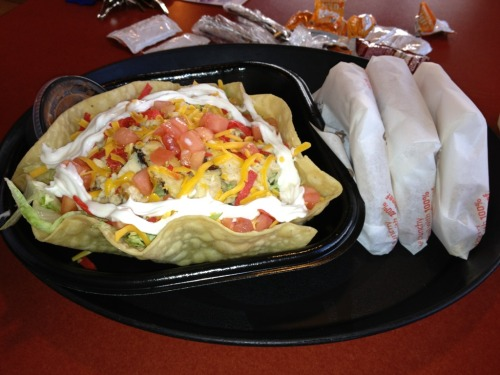 Grilled Chicken Fiesta Salad and three beef & cheese tacos from Taco Bell
