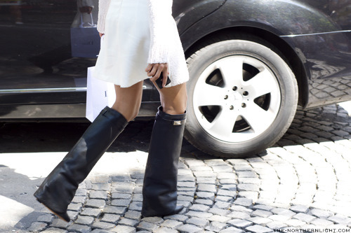 Sightseeing Paris. Black grained calfskin wedge boot, Givenchy.