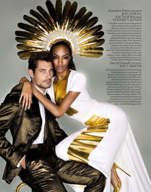 David James Gandy wears Paul Smith, Jourdan Dunn wears Jonathan Saunders & Stephen Jones Millinery Photographed by Nick Knight For Vogue UK September 2012