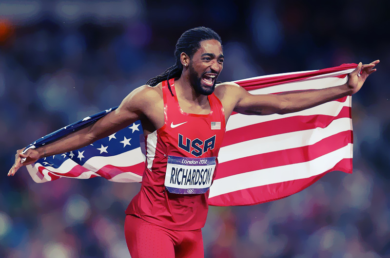 OLYMPICS DAY 12 Jason Richardson of the United States celebrates after winning the silver medal in the Men's 110m Hurdles Final Photo by Quinn Rooney