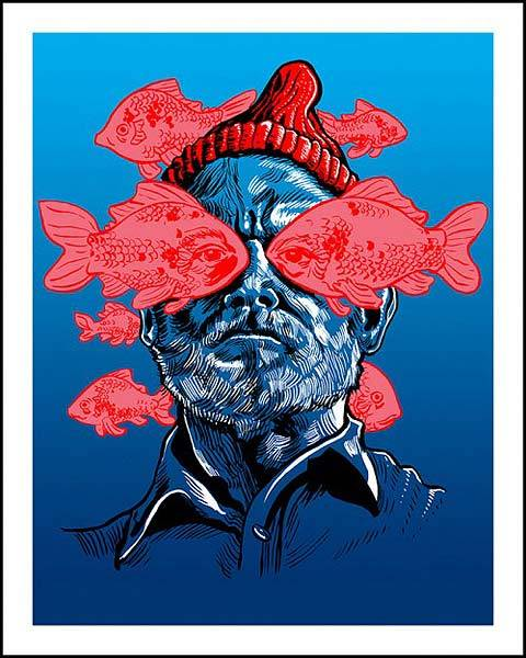 The Life Aqautic with Steve Zissou alternative movie poster designed by Tim Doyle