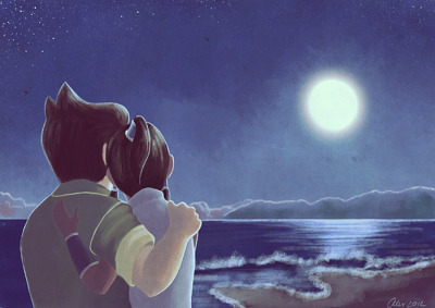 kasumicr:  Borra Week - Day 7's prompt: Moonlight. I decided to finish the week with something more elaborated and not so sketchy.  Nothing more romantic than a night by the moonlit sea.