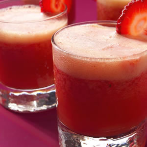 Strawberry Coolers INGREDIENTS 2 cups chilled orange juice 1 1/2 cups hulled strawberries 1 tablespoon sugar, or to taste 1 1/2 cups chilled ginger ale  COOKING DIRECTIONS Step 1 Combine orange juice, strawberries and sugar in a blender; blend until the berries are pureed. Step 2 Place the berry puree in a large pitcher. Add ginger ale; stir to combine. Serve over ice.   MAKE AHEAD TIP Prepare through Step 1, cover and refrigerate for up to 2 days. Add ginger ale just before serving. NUTRITION INFO Per serving Calories: 116 Carbohydrates: 28g Fat: 0g Protein: 1g