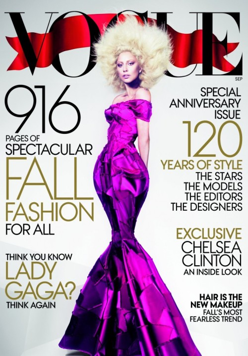 "GAGA ROCKING VOGUE COVER! Lady gaga leaks her New Vogue cover before the magazine is out; Wintour, Grace Coddinton & Co. have the ""Born This Way"" artist squeezed into a fuchsia Marc Jacobs mermaid gown that nips & tucks here and balloons there. And this time, the hair of choice is a platinum afro. We say BRAVO mother-monster Gaga!"