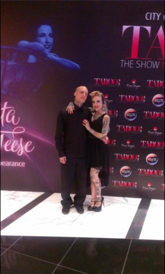 Took advantage of the Dita Von Teese premiere press wall at our show last night to snap this photo with my husband. I was so nervous performing knowing he was in the audience!! :p