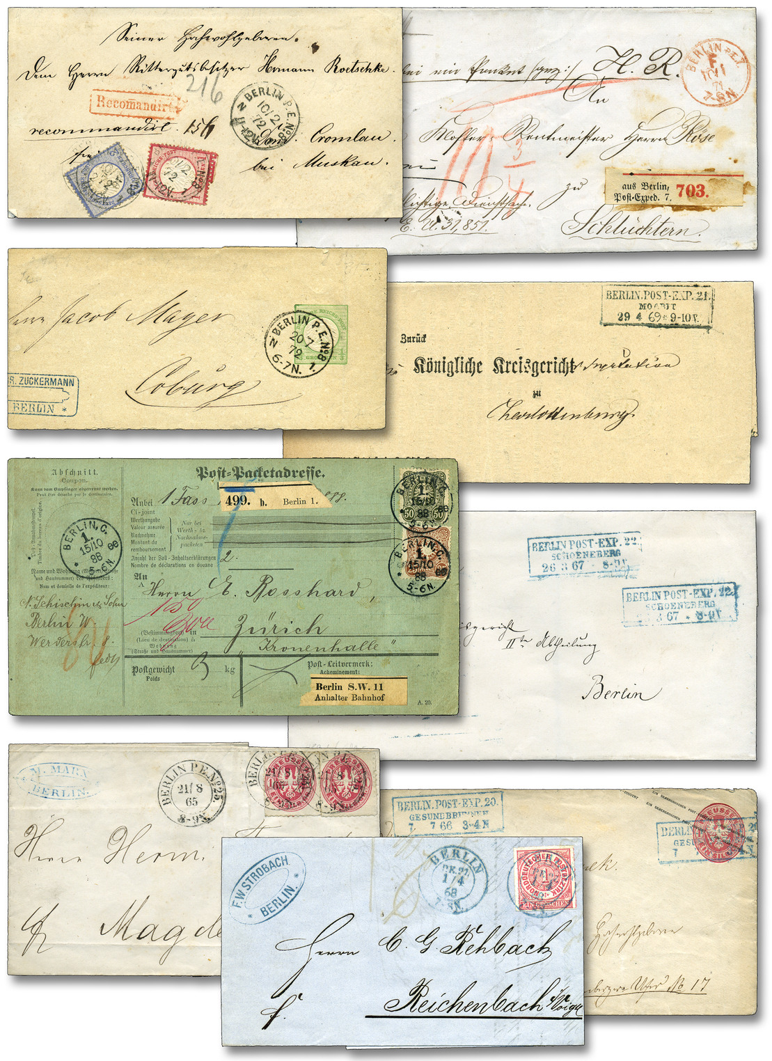 BERLINER POSTGESCHICHTE: 1860/1900 ca., Stempelsammlung in sieben dicken Bänden ab ungefähr 1860er Jahre bis um die Jahrhundertwende. Gesammelt nach Postamtsnummer ab Berlin PE 1 / C1 bis zur Nummer 100/106. Zusammen um die 1370 Belege, dazu viele Marken und Briefstücke zu den einzelnen Nummern. Als Grundlage diente der KBHW-Katalog, die Postamtsnummern ab PA 65, 66 und folgend immer mit meist nur einem Stück vertreten. Die KBHW-Nummern sind jeweils verzeichnet, laut Aufstellung ergibt sich ein Katalogwert nach KBHW von rund 57000.- DM, dabei sind Frankaturen, Versandarten, Portostufen oder Ganzsachen vollkommen unbeachtet. Natürlich sind auch unterschiedliche Erhaltungen vertreten. Dabei auch Einschreiben Berlin 74, 80, 84, 86, 88, 89, 90, 91, 93, 96, 100, 101, 103, 105, 107, Rohrpost Reichstag und Abgeordnetenhaus. Selten in dieser Vielfalt zu finden, in Jahrzehnten zusammengetragen. Idealer Grundstock für eine umfassende Stempelsammlung der Hauptstadt, ein kleiner Auszug bei den Fototafeln. Eine summarische Aufstellung über Anzahl, KBHW-Nummer und Wert nach KBHW kann angefordert werden. Automatically generated translation: Berliner postal history: 1860 / 1900 approximate, collection of cancellations in seven thick volumes from approximate 1860er years till around the turn of the century. Collected to Post office number from Berlin PE 1 / C1 till to the number 100 / 106. together about the 1370 documents, in addition to it many stamps and pieces to the several numbers. As basis served the KBHW catalogue, the post office numbers from PA 65, 66 and ensuing always with mostly only a piece be present. The KBHW numbers are in each case indicates, according to listing results be a catalogue value to KBHW from round 57000.- DM, as well are frankings, shipping methods, postage steps or postal stationeries perfect unappreciated. Naturally are also mixed conditions be present. With also registered Berlin 74,80, 84, 86, 88, 89,90, 91, 93, 96,100, 101,103,105,107, pneumatic post Reichstag and house of representatives. Rare in this variety to find, in decades compiled. Perfect base for a comprehensive collection of cancellations the capital, a small statement by the photo boards. A summarische listing over amount, KBHW number and value to KBHW can requested become. Dealer Berliner Auktionshaus Schlegel Auction Minimum Bid: 6200.00 EUR (via Philasearch.com: 11th Schlegel Auction - item 9097-A11-211)