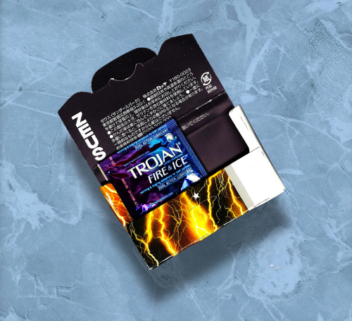 "Single Trojan 'FIRE & ICE' condom in package of ZEUS imported chewing gum, 2012 Portable Sculpture (""Fun Size"") Ω™"