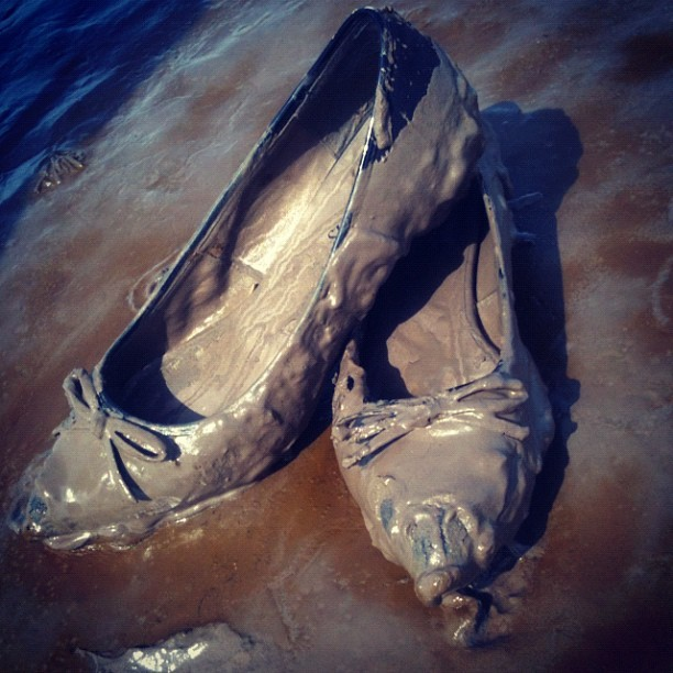 Shoes sacrificed to art #gormley #crosbybeach