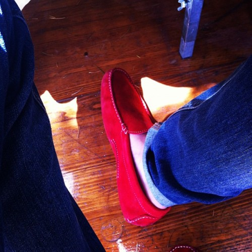Suede. #red #loafers (Taken with Instagram)