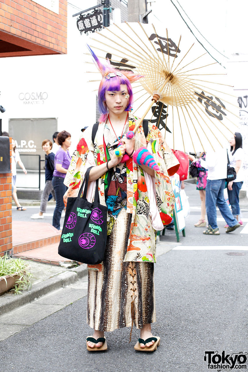 Maro from Broken Doll wearing a handmade outfit that mixes Harajuku with traditional Japanese fashion.