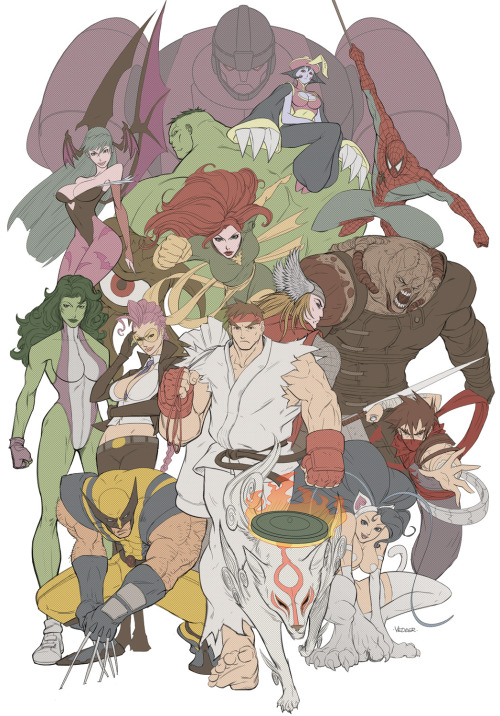 xombiedirge:  Marvel vs Capcom Pinup by Eric Vedder / Website
