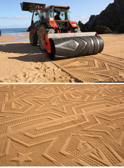 Sand art in Spain with Gunilla Klingberg